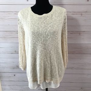 Lucky Brand Lace Open Back Sweater